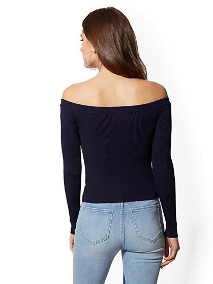 0f14e2b5d0e6da ... Off-The-Shoulder Zip-Front Sweater - New York   Company ...