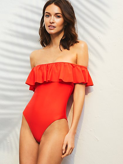 Off the Shoulder One-Piece Swimsuit - New York & Company