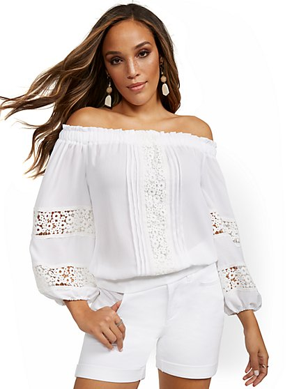 Off-the-Shoulder Peasant Blouse - Lily & Cali - New York & Company