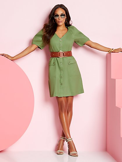 Olive Belted Shirtdress - New York & Company