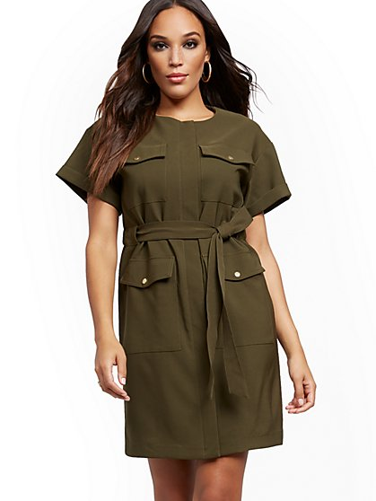 Olive Belted Utility Dress - New York & Company