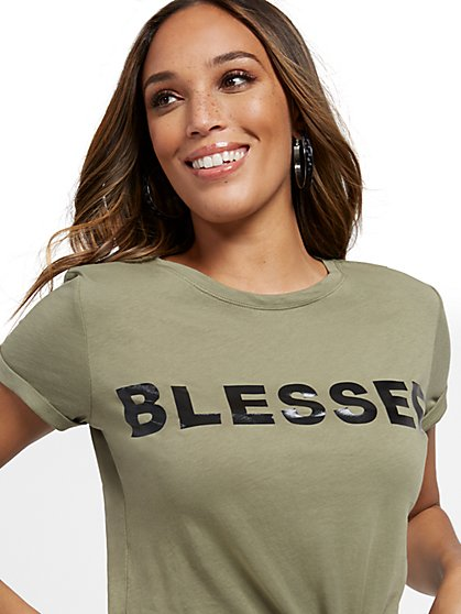 "Olive ""Blessed"" Tee - New York & Company"