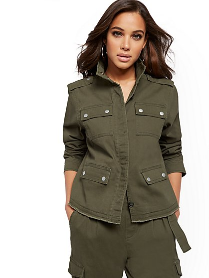 Olive Cargo Jacket - New York & Company
