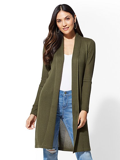 Olive Duster Cardigan - New York & Company