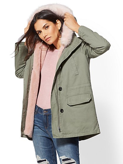 Olive Faux Fur-Lined Hooded Anorak Jacket - New York & Company