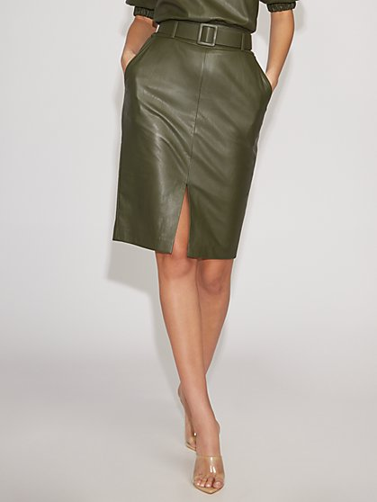Olive Faux-Leather Pencil Skirt - Gabrielle Union Collection - New York & Company