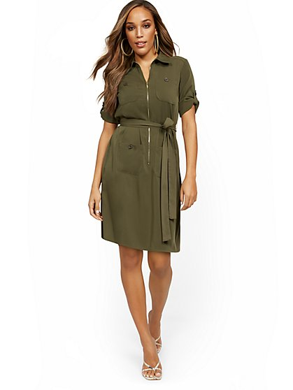 Olive Four-Pocket Shirtdress with Zip - New York & Company