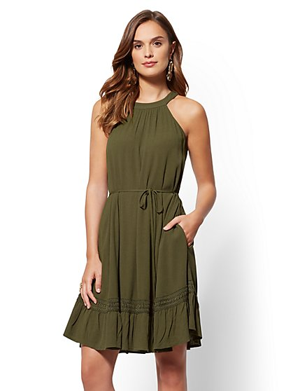 Olive Halter Fit and Flare Dress - New York & Company