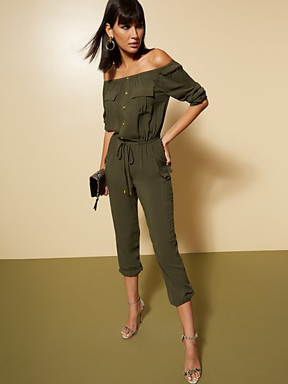 Olive Off-The-Shoulder Cargo Jumpsuit - New York & Company