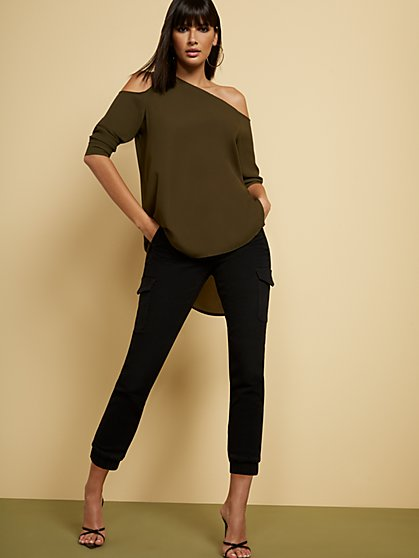 Olive One-Shoulder Tunic Blouse - New York & Company