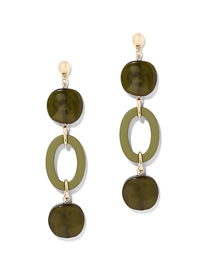 Olive Open-Oval Drop Earring - New York & Company