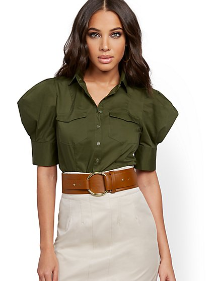 Olive Puff-Sleeve Poplin Shirt - New York & Company
