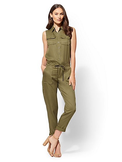Olive Sleeveless Jumpsuit - New York & Company