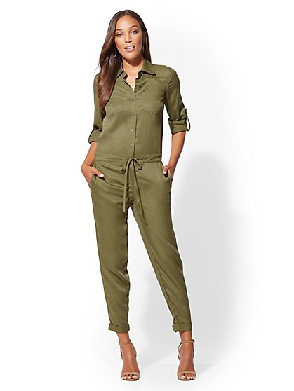 Olive Utility Jumpsuit - New York & Company