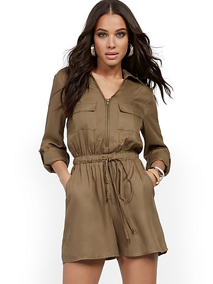 Olive Utility Romper - New York & Company