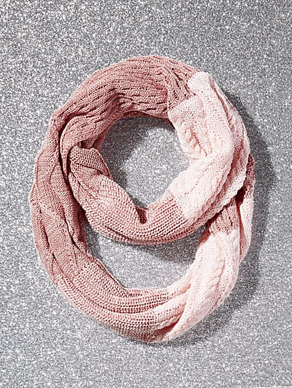 Ombre Cable-Knit Infinity Scarf - New York & Company