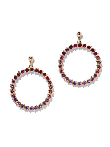 Ombre Faux-Stone Hoop Drop Earring - New York & Company