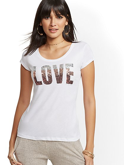 "Ombre Sequin ""Love"" Graphic Logo Tee - New York & Company"
