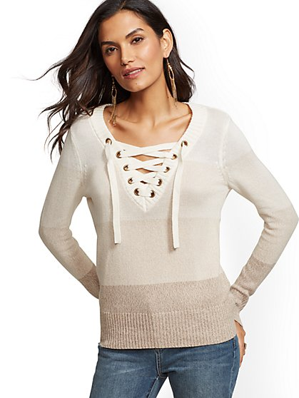 Ombre Stripe Lace-Up V-Neck Sweater - New York & Company