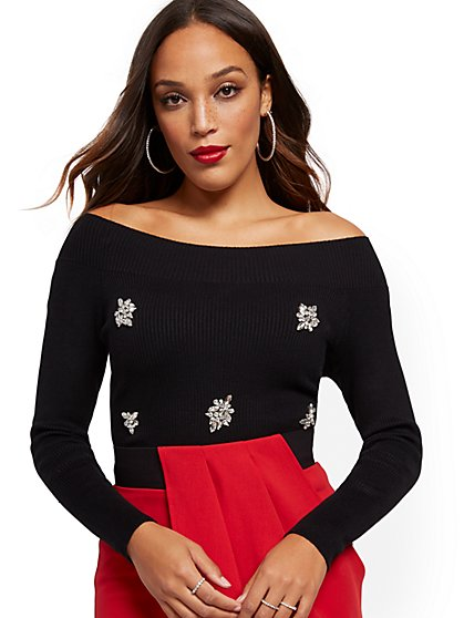On/Off-Shoulder Jeweled Sweater - New York & Company