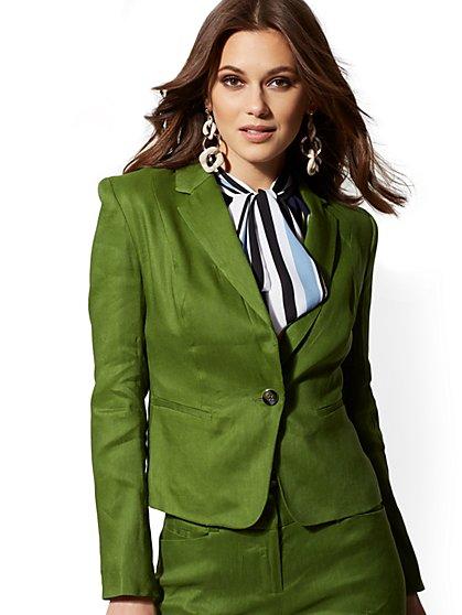 1e7af7fb7c One-Button Jacket - City Stretch Linen Flex - 7th Avenue - New York ...