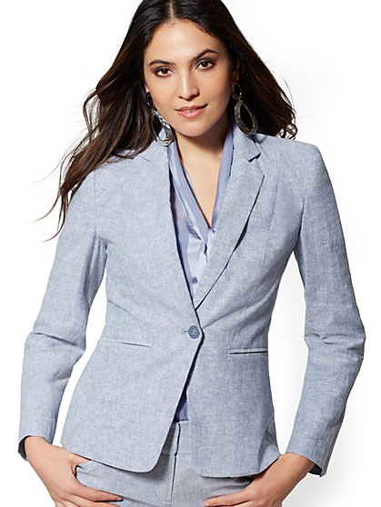 One-Button Jacket - Modern - City Stretch Linen Flex - 7th Avenue - New York & Company