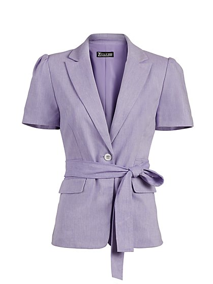 One-Button Puff-Sleeve Jacket - Linen-Blend - 7th Avenue - New York & Company