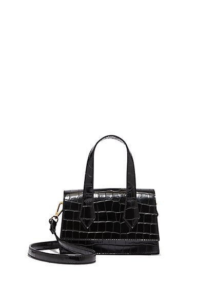 One-Handle Faux-Croc Leather Crossbody Bag - New York & Company