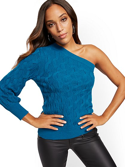 One-Shoulder Cable-Knit Sweater - New York & Company