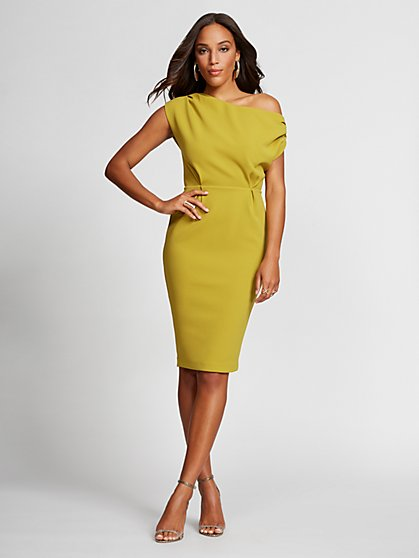 One-Shoulder Ponte Sheath Dress - Gabrielle Union Collection - New York & Company