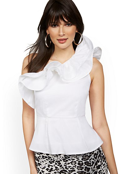 One-Shoulder Ruffle Poplin Top - New York & Company