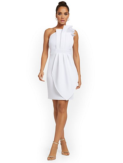 One-Shoulder Ruffled Sheath Dress - New York & Company