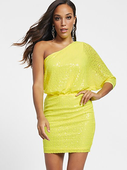 One-Shoulder Sequin Sheath Dress - Gabrielle Union Collection - New York & Company