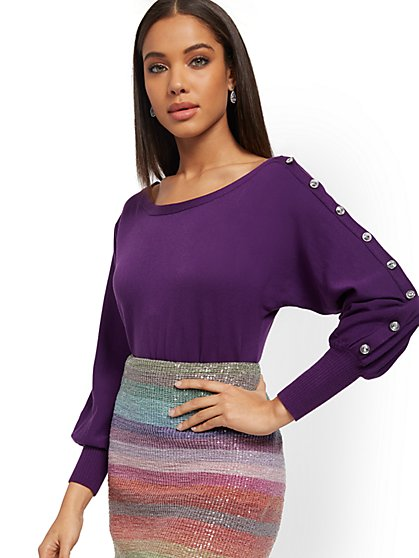 One-Sided Faux-Stone Dolman Sweater - New York & Company
