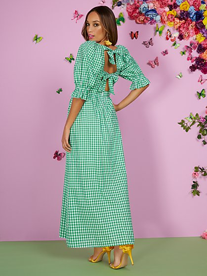 Open-Back Gingham Maxi Dress - New York & Company