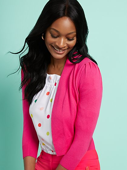 Open-Front Puff-Sleeve Cardigan - 7th Avenue - New York & Company