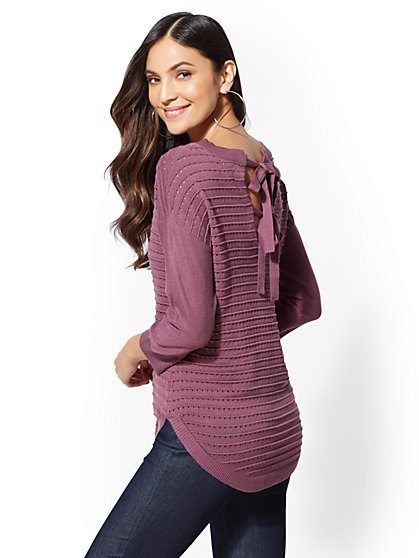 Open-Stitch Bow-Back Sweater - New York & Company