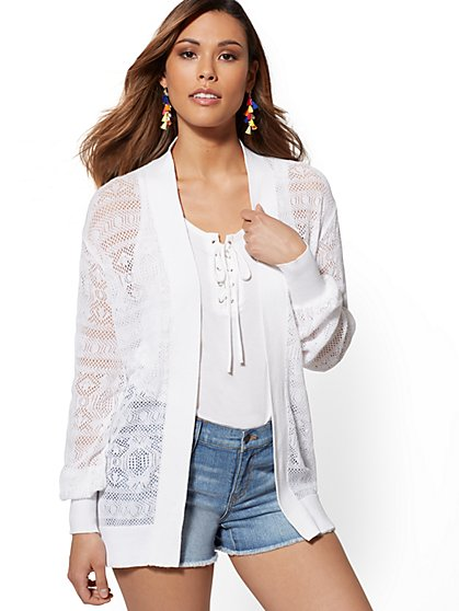 Open-Stitch Cotton & Linen Cardigan - New York & Company