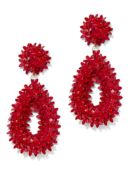 Open Teardrop Floral Statement Earring - New York & Company