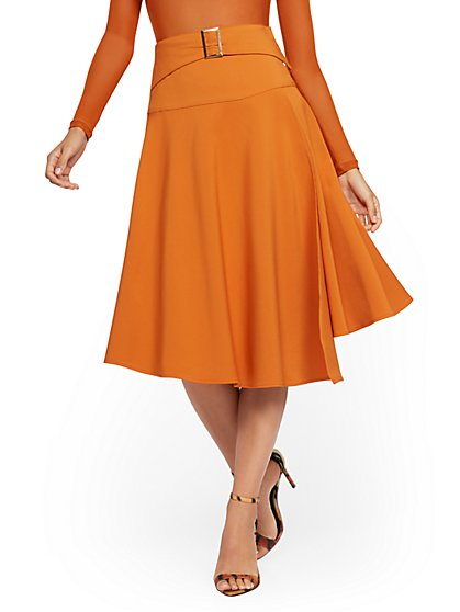 Orange Belted Full Wrap Skirt - New York & Company