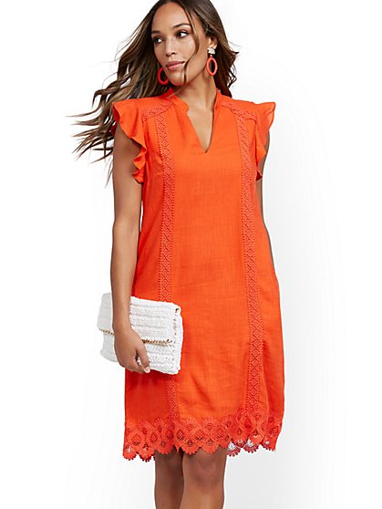 Orange Crochet-Trim Linen Blend Dress - New York & Company