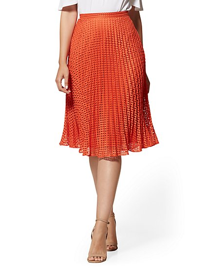 Orange Eyelet Pleated Skirt - New York & Company
