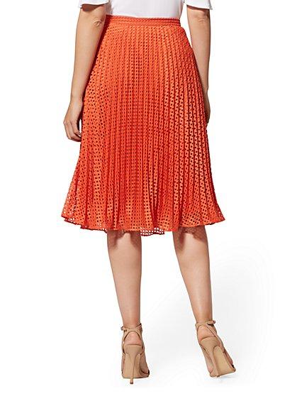 795ecb9cec60d ... Orange Eyelet Pleated Skirt - New York & Company