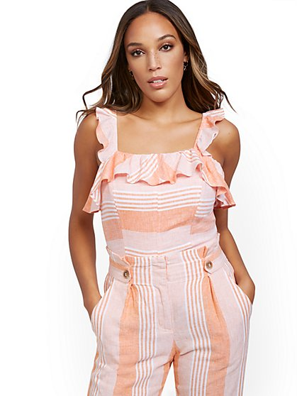 Orange Linen Ruffled Top - New York & Company