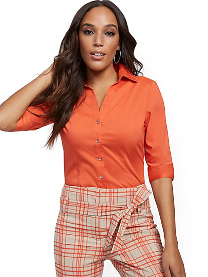 Orange Madison Stretch Shirt - Secret Snap - 7th Avenue - New York & Company