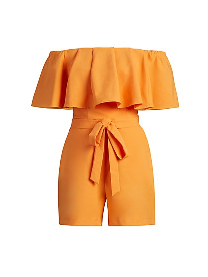 Orange Off-The-Shoulder Romper - New York & Company