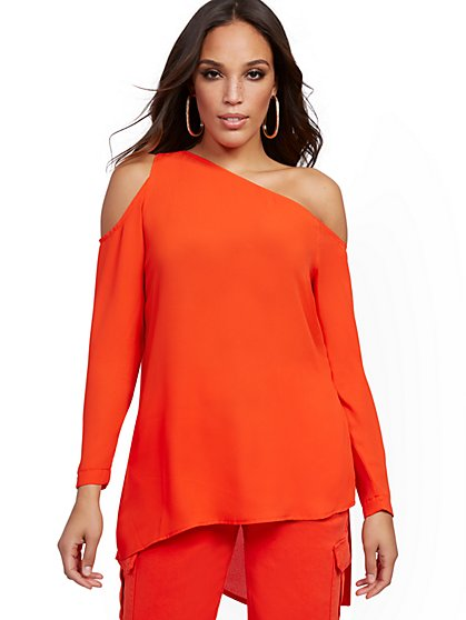 Orange One-Shoulder Tunic Blouse - New York & Company