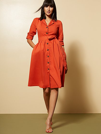 Orange Poplin Shirtdress - New York & Company
