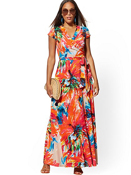 Orange-Print Wrap Maxi Dress - New York & Company