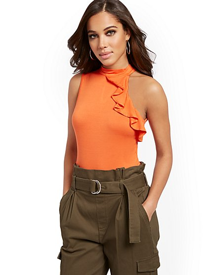 Orange Ruffled Bodysuit - New York & Company